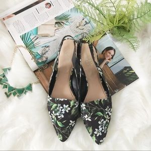 Franco Sarto floral pointed toe slip on flats 13